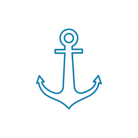 Double-fluked anchor line icon, vector illustration. Double-fluked anchor linear concept sign.