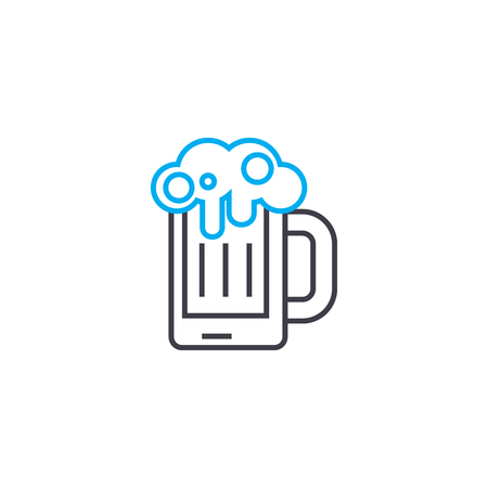 Draft beer line icon, vector illustration. Draft beer linear concept sign.