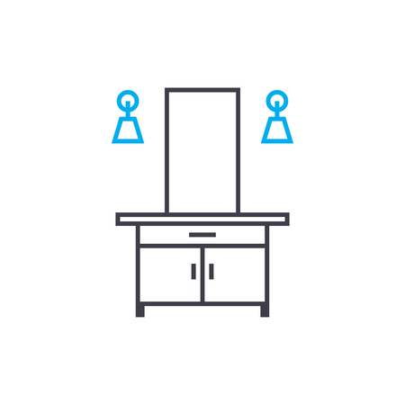 Dressing table line icon, vector illustration. Dressing table linear concept sign. Illustration