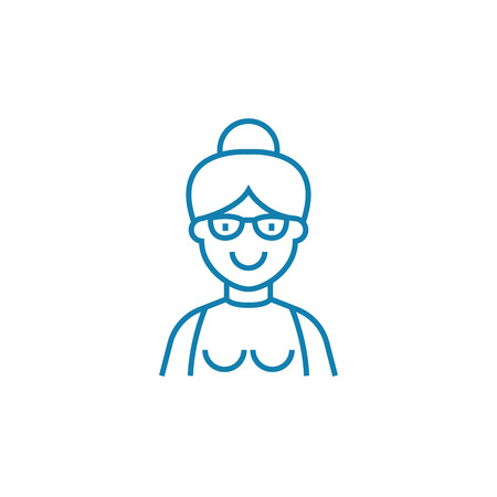 Elderly woman line icon, vector illustration. Elderly woman linear concept sign.