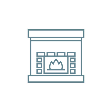 Electric fireplace line icon, vector illustration. Electric fireplace linear concept sign.