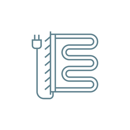 Electric heated towel rail line icon, vector illustration. Electric heated towel rail linear concept sign.