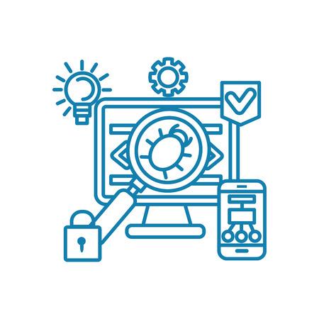 Eliminating vulnerabilities line icon, vector illustration. Eliminating vulnerabilities linear concept sign.