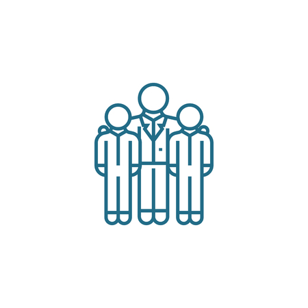 Encouraging employees line icon, vector illustration. Encouraging employees linear concept sign. Illustration