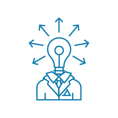 Engineer-developer line icon, vector illustration. Engineer-developer linear concept sign. Illustration