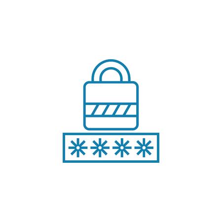 Entering password line icon, vector illustration. Entering password linear concept sign.