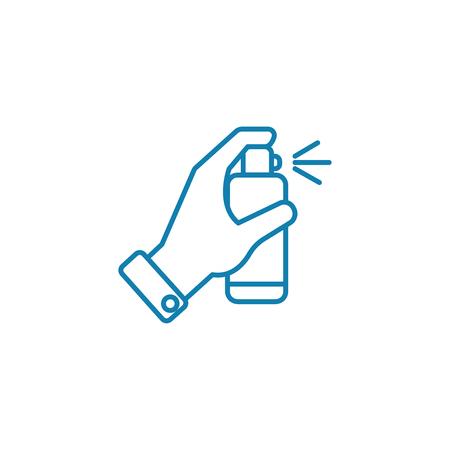 Icona della linea di disinfettanti, illustrazione vettoriale. Segno di concetto lineare di disinfettanti.