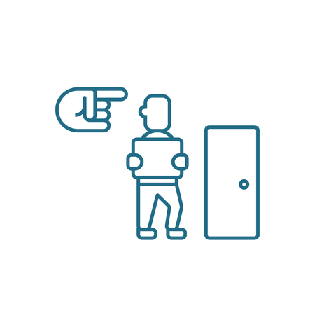 Dismissal of an employee line icon, vector illustration. Dismissal of an employee linear concept sign.