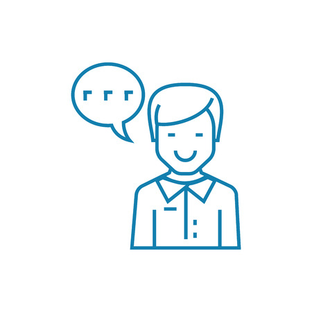 Enthusiastic feedback line icon, vector illustration. Enthusiastic feedback linear concept sign. Vettoriali