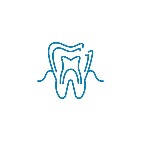 Examination at the dentist line icon, vector illustration. Examination at the dentist linear concept sign.