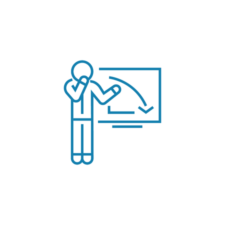 Explanation of the recession line icon, vector illustration. Explanation of the recession linear concept sign.