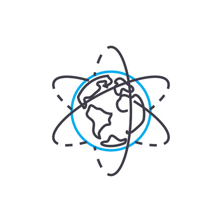 Exploring geography line icon, vector illustration. Exploring geography linear concept sign. Ilustrace