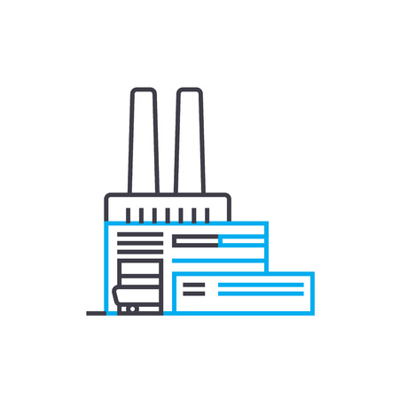 Factory line icon, vector illustration. Factory linear concept sign.