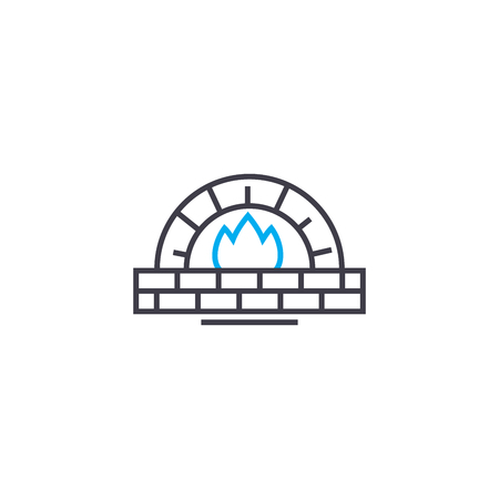 Fireplace line icon, vector illustration. Fireplace linear concept sign. Иллюстрация