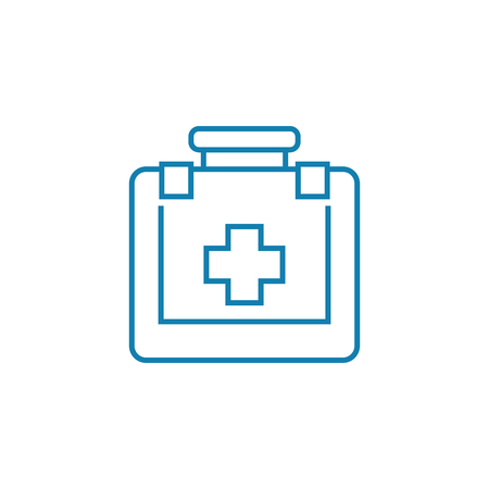 First aid kit line icon, vector illustration. First aid kit linear concept sign. Illustration