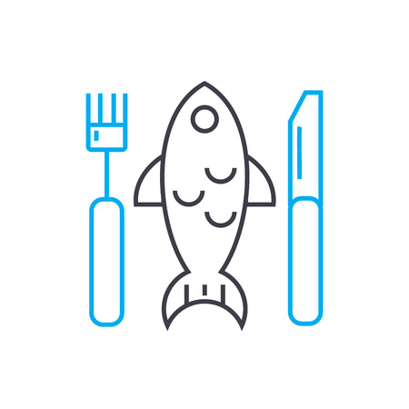 Fish plate line icon, vector illustration. Fish plate linear concept sign.