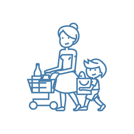 Family shopping line icon, vector illustration. Family shopping linear concept sign.