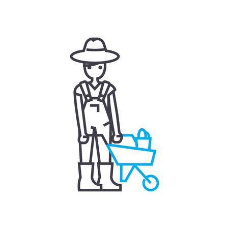 Farmer line icon, vector illustration. Farmer linear concept sign. Illustration