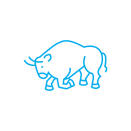 Fighting bull line icon, vector illustration. Fighting bull linear concept sign.