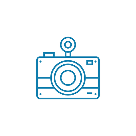 Film camera line icon, vector illustration. Film camera linear concept sign.