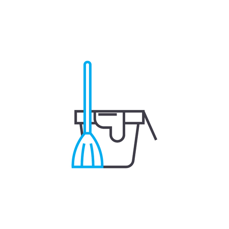 Floor cleaning line icon, vector illustration. Floor cleaning linear concept sign. Illustration
