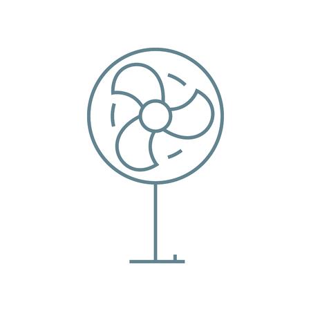 Bodenventilatorliniensymbol, Vektorillustration. Lineares Konzeptzeichen des Bodenventilators.
