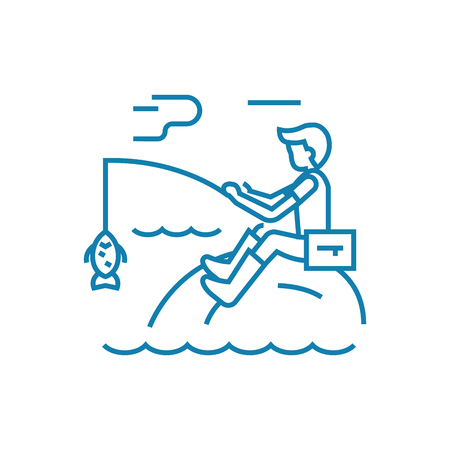 Fishing activities line icon, vector illustration. Fishing activities linear concept sign. 向量圖像