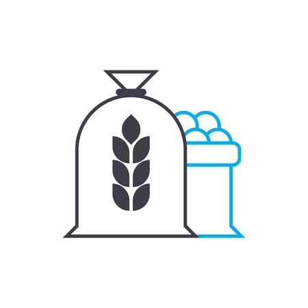 Flour production line icon, vector illustration. Flour production linear concept sign.