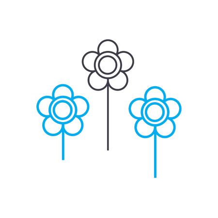 Flower bed line icon, vector illustration. Flower bed linear concept sign. Çizim