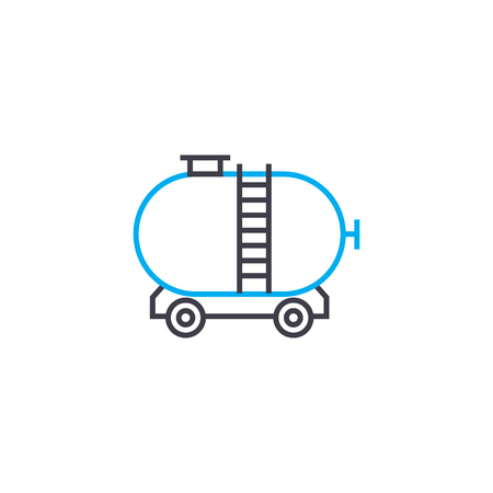 Freight rail transport line icon, vector illustration. Freight rail transport linear concept sign.