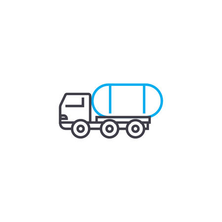 Freight transportation line icon, vector illustration. Freight transportation linear concept sign.