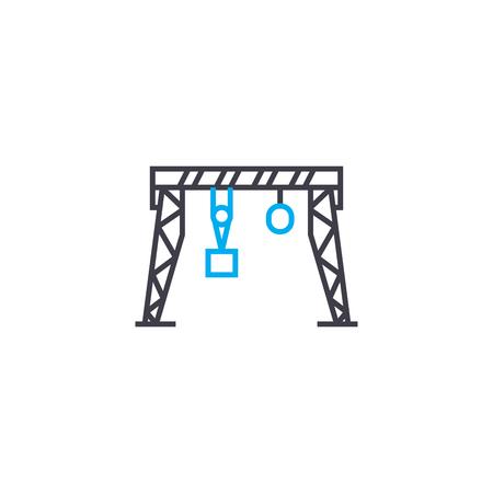 Gantry crane line icon, vector illustration. Gantry crane linear concept sign.