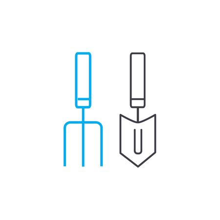 Garden tools line icon, vector illustration. Garden tools linear concept sign. Illustration