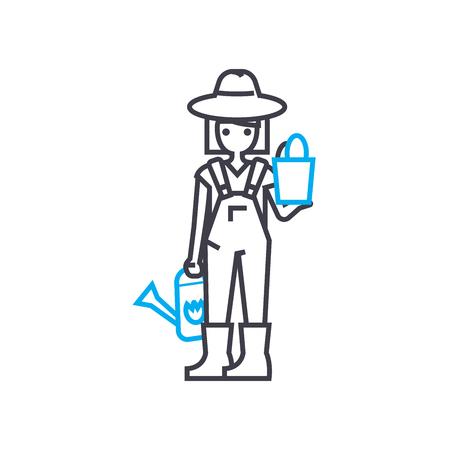 Gardener line icon, vector illustration. Gardener linear concept sign. Illustration