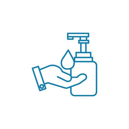 Hand hygiene line icon, vector illustration. Hand hygiene linear concept sign. Фото со стока - 101937340
