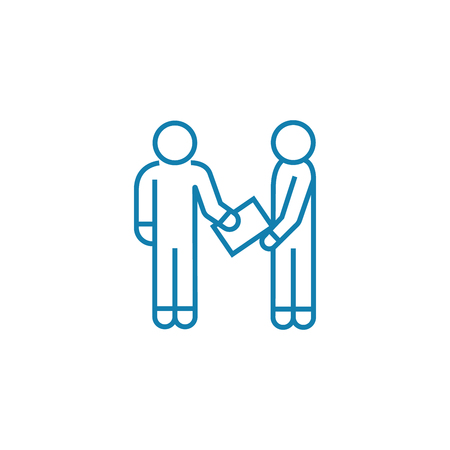 Handling a document line icon, vector illustration. Handling a document linear concept sign. Ilustração