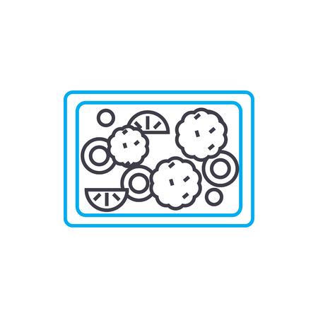 Fruit pie line icon, vector illustration. Fruit pie linear concept sign.