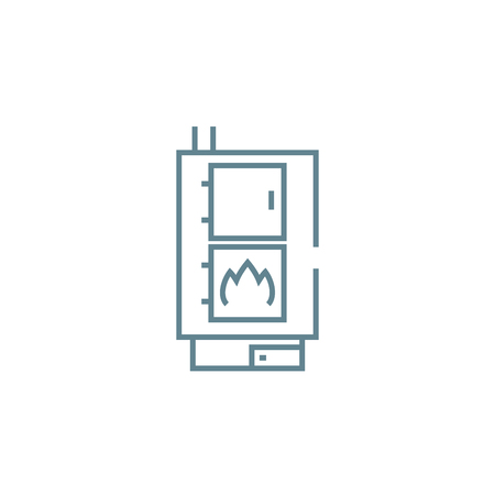 Heating boiler line icon, vector illustration. Heating boiler linear concept sign.