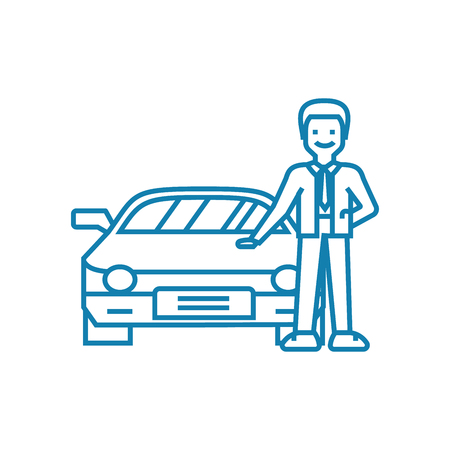 Going in for motoring line icon, vector illustration. Going in for motoring linear concept sign. Ilustração