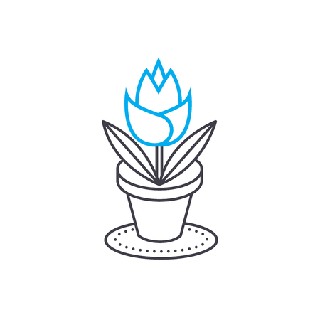 Growing of house flowers line icon, vector illustration. Growing of house flowers linear concept sign. Illustration