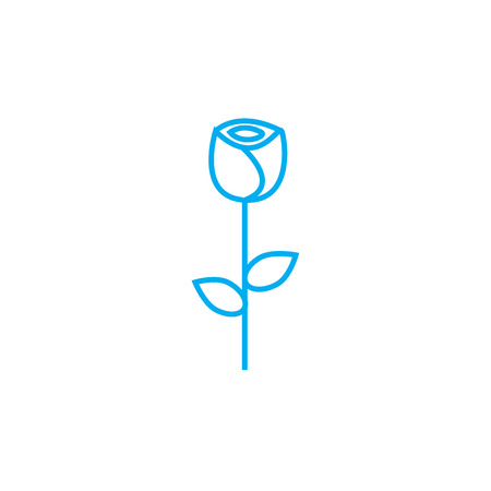 Growing roses line icon, vector illustration. Growing roses linear concept sign. Illustration