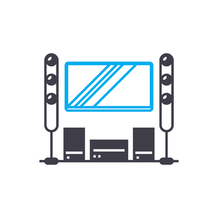 Home theater line icon, vector illustration. Home theater linear concept sign.