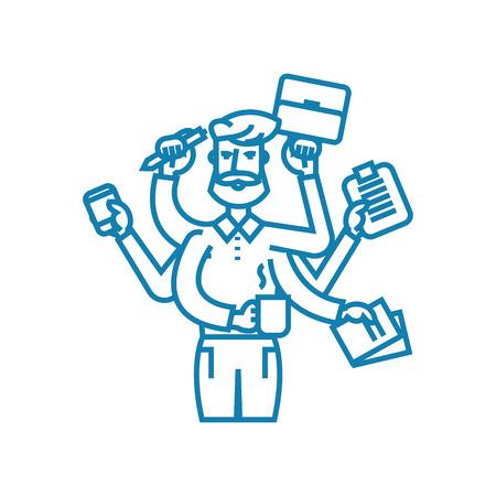 Huge workload line icon, vector illustration. Huge workload linear concept sign.