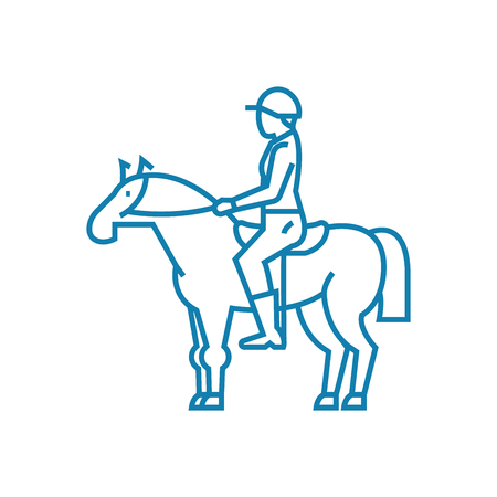 Horse riding line icon, vector illustration. Horse riding linear concept sign.