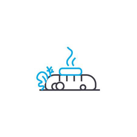 Hot dog line icon, vector illustration. Hot dog linear concept sign.