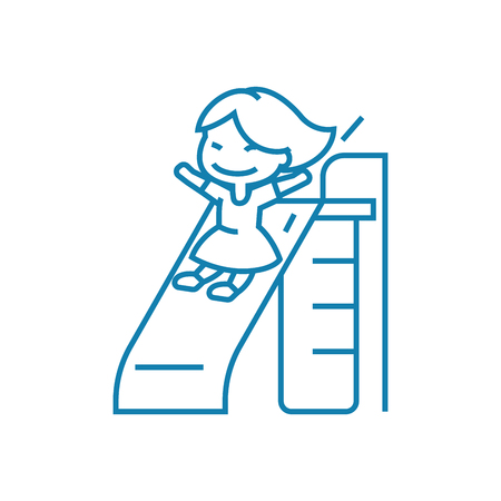 Going down the slide line icon, vector illustration. Going down the slide linear concept sign.