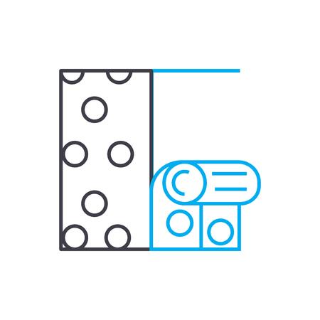 Hanging wallpaper line icon, vector illustration. Hanging wallpaper linear concept sign.
