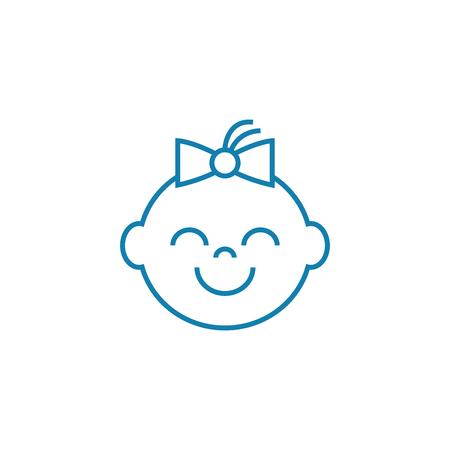 Happy child line icon, vector illustration. Happy child linear concept sign. Illustration