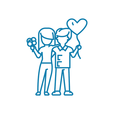 Happy couple line icon, vector illustration. Happy couple linear concept sign.