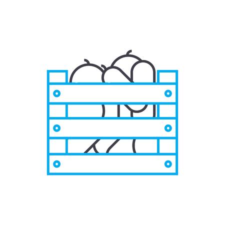 Harvesting line icon, vector illustration. Harvesting linear concept sign. Ilustração